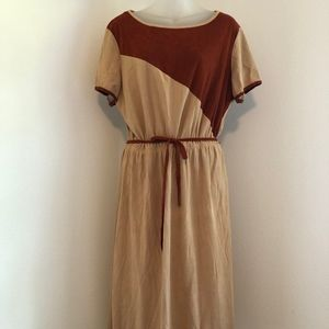 Vintage Suede-Like Brown Dress Made in USA